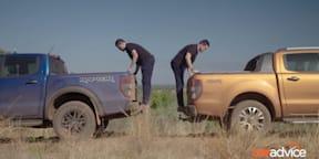 Ford Ranger Raptor v Ranger Wildtrak suspension travel