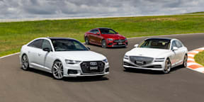 Video: Audi A6 v Genesis G80 v Mercedes-Benz E-Class - Drive Car of the Year 2021 Best Large Luxury Car