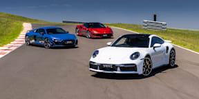 Video: Audi R8 v Ferrari F8 v Porsche 911 Turbo S - Drive Car of the Year 2021 Best Super Sports Car