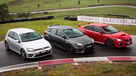 Focus RS v Golf R v WRX STI Comparison: Track Test
