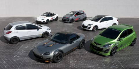 Mazda MX-5 Cup Car, Mazda2 Street, Mazda3 Turbo sedan models at SEMA show