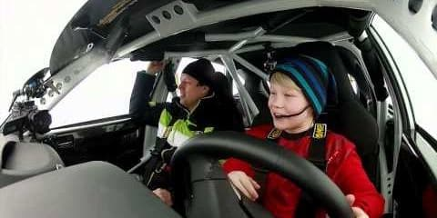 11-year-old rally ace tears up snow tracks