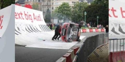 Audi A1 flips over