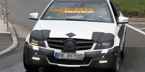 2011 Mercedes-Benz C-Class Coupe spy shots including interior