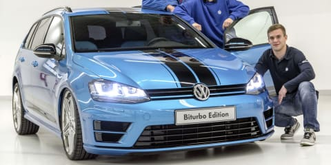 Volkswagen Golf Biturbo Wagon is a black and blue torque monster