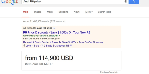 Google Australia starts showing US car prices and MPG for local searches