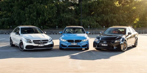 BMW M3 v Lexus GS F v Mercedes-AMG C63 S comparison