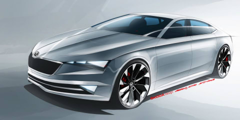 Skoda VisionC concept sketch : new coupe-style four-door for Czech brand