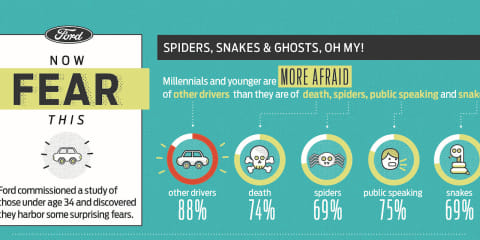 Young drivers fear other road users more than death or spiders