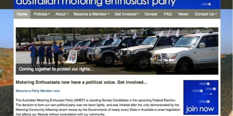 Senate: Australian Motoring Enthusiasts Party drives toward political seat