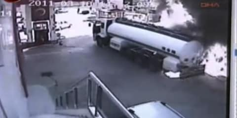 Video: Petrol tanker fire almost engulfs entire fuel station