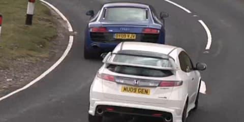 Audi R8 V10 vs Honda Civic Type R Mugen - Video