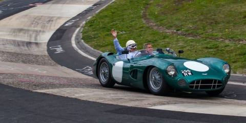 Sir Stirling Moss drives 1959 race-winning Aston Martin DBR1 at the Nurburgring