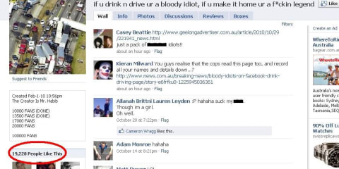 Facebook page supports drink driving and has nearly 20,000 fans