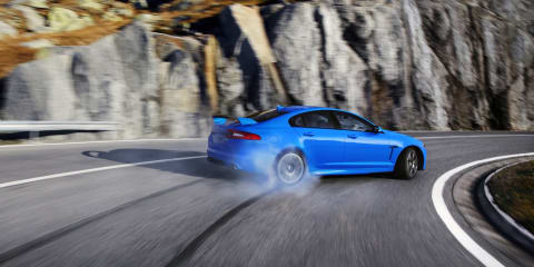Jaguar XFR-S sliding through the mountains: video