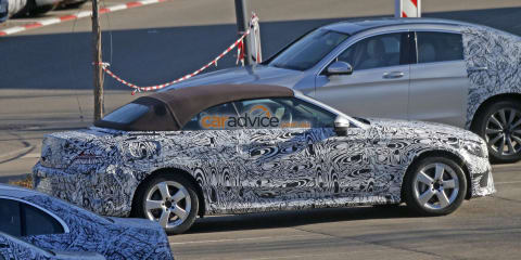 2016 Mercedes-Benz C-Class convertible spied with undisguised fabric top