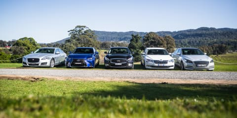 Luxury sedan comparison part one: Hyundai Genesis v Jaguar XF v Infiniti Q70 v Lexus GS v Skoda Superb