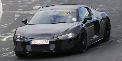 2015 Audi R8 spied with less camouflage