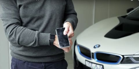 How does an Apple Watch and smart phone interact with a BMW i8?