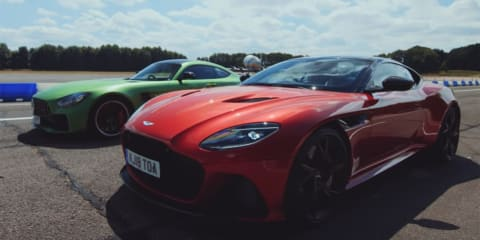Aston Martin DBS Superleggera v AMG GT R drag race - video