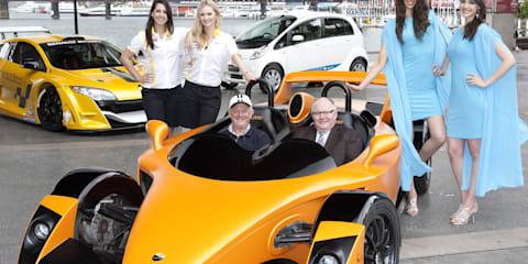 AIMS previews Hulme supercar, Mitsubishi i-Miev and Renault race car at Darling Harbour