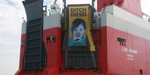 Greenpeace protestors board ship delivering VW diesels, more break into holding yard