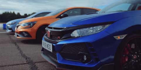Civic  Type R v i30 N v Megane RS drag race - video