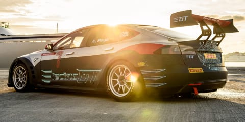 Electric GT Tesla hits the track - video