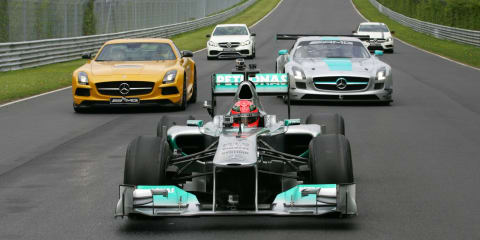Schumacher drives Nurburgring, Hamilton and Rosberg drive A45 AMG
