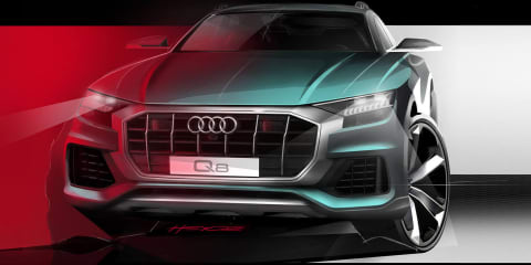 Audi Q8 teased again with frontal design sketch