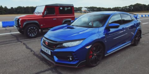 Civic Type R v Defender V8 drag race - video