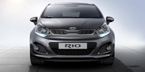 2012 Kia Rio sedan New York premiere, in Australia Q4