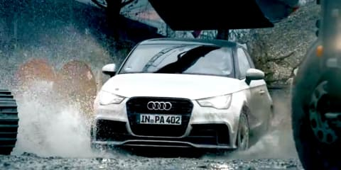 Audi A1 quattro rips up construction site