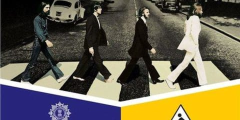 Beatles album cover used for Indian road safety campaign