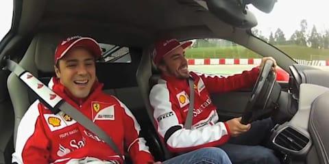 Fernando Alonso, Felipe Massa lap Catalunya in Ferrari 458 Italia