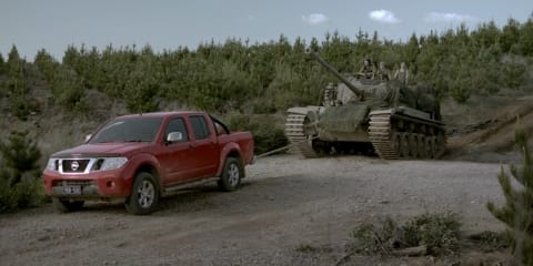 Nissan Navara tows tank in new TV ad