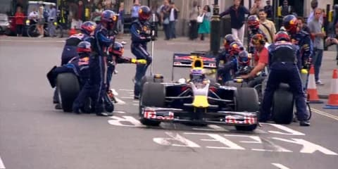 Video: Mark Webber Parliament Square F1 pit stop in London