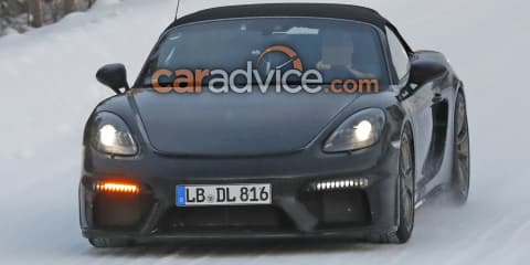 2019 Porsche 718 Boxster Spyder spied in the snow