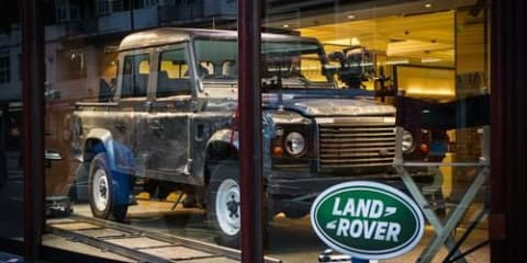 Land Rover Defender from Skyfall on display at Harrods