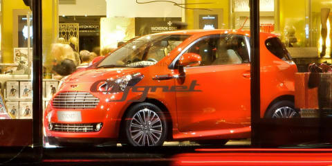 Aston Martin Cygnet makes debut in Harrods department store in London