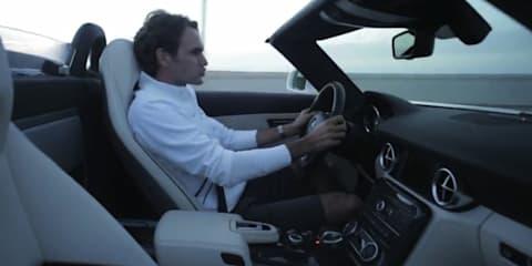 Video: Mercedes-Benz SLS AMG Roadster driven by Roger Federer