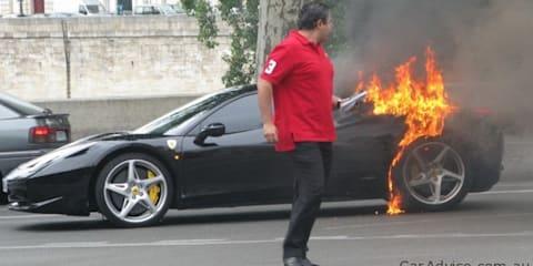 Ferrari 458 Italia catches fire