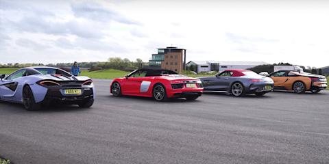 GT C Roadster, R8 Spyder, i8 Roadster, 570S Spider drag race - video