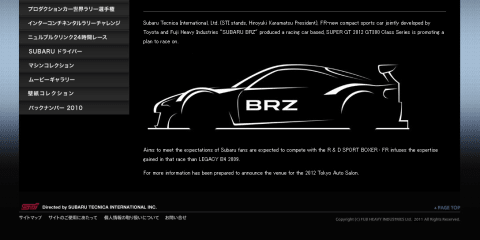 Subaru set to race the BRZ