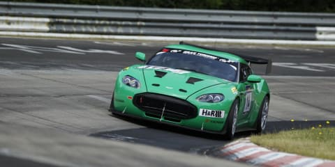 Aston Martin V12 Zagato on track at the Nurburgring