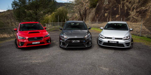 Ford Focus RS v Subaru WRX STI v Volkswagen Golf R Comparison: Road Test