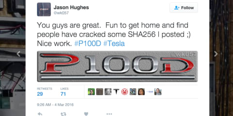 Tesla Model S P100D discovered by white-hat hacker