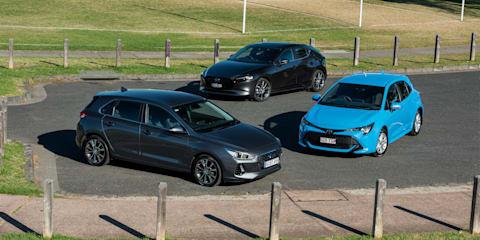 2019 Hyundai i30 Elite v Mazda 3 G20 Evolve v Toyota Corolla SX comparison