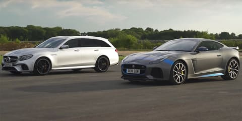 E63 S v F-Type SVR drag race - video