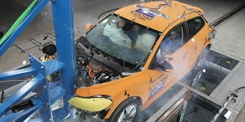 Volvo C30 Electric crash example at Detroit show